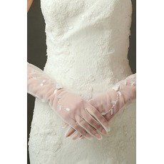 Πούλιες Ημιδιαφανές Πλήρη δάχτυλο Σκιά Μακρύ Γάντια γάμου