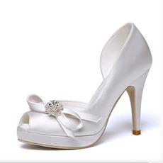 Γυναικεία παπούτσια ανοιχτό toe σατέν αδιάβροχη πλατφόρμα ψηλά τακούνια γάμου