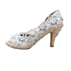 Γυναικεία παπούτσια από δαντέλα από σατέν με γαμήλια παπούτσια στιλέτο με στρας και χειροποίητα γαμήλια παπούτσια
