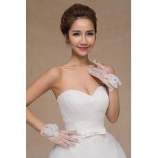 Λεπτό Χάντρες Καλοκαίρι Πλήρη δάχτυλο Διακόσμηση Γάντια γάμου