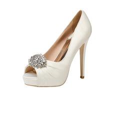 12CM Super High Heel Rhinestone Γαμήλια παπούτσια Satin Party Shoes