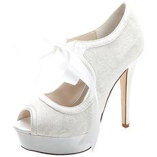 Κομψή δαντέλα ψηλοτάκουνα αδιάβροχη πλατφόρμα γυναικεία παπούτσια σατέν ιμάντες δεξιώσεις γαμήλια παπούτσια παπούτσια μόδας