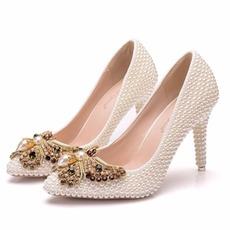 9CM μαργαριτάρι τόξο ψηλά τακούνια παπούτσια στιλέτο κόμμα παπούτσια