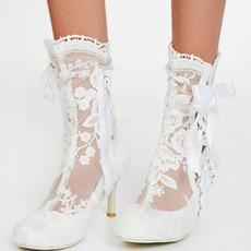Γυναικείες μπότες μόδας με κούφια ψηλά τακούνια λευκές δαντέλες γυναικείες μπότες γάμου