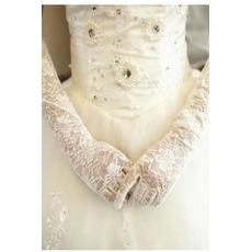Επίσημη Μακρύ Δαντέλα Σκιά Λευκό Δαντέλα Γάντια γάμου