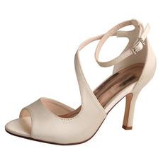 Ανοιχτό toe fish fish high heels γαμήλια παπούτσια γαμήλια παπούτσια σατέν prom