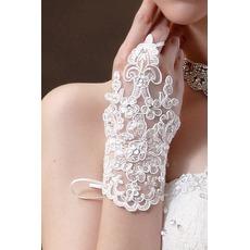Δαντέλα Χάντρες Σύντομη Καλοκαίρι Λευκό Διακόσμηση Γάντια γάμου