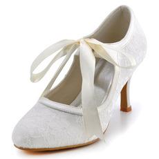 Γυναικεία παπούτσια από δαντέλα με δαντέλα και ψηλά τακούνια