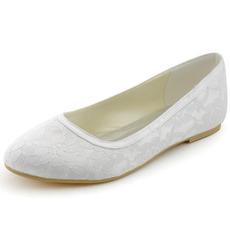 Δαντέλα γαμήλια παπούτσια επίπεδη έγκυες γυναίκες γαμήλια παπούτσια άνετα χαμηλά τακούνια