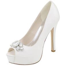 Βραδινά παπούτσια παπούτσια γάμου rhinestone σέξι στόμα ψαριών υψηλό τακούνια παπούτσια με τακούνι τακούνι παπούτσια