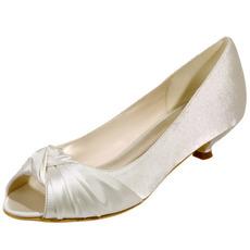 Νυφικά παπούτσια ψάρι στο στόμα γάμου παπούτσια σατέν πάρτι