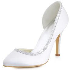 Γυναικεία παπούτσια από σατέν μετάξι με στρας δάχτυλο από στρας και κοίλο στιλέτο νυφικά παπούτσια
