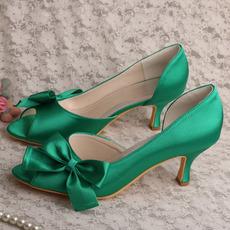 Σατέν πεταλούδα γαμήλια παπούτσια με κοίλο στιλέτο ψηλά τακούνια πράσινα παπούτσια παράνυμφων