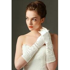 Πλήρη δάχτυλο Κατάλληλη Ιβουάρ Χειμώνας Κεντήματα Γάντια γάμου