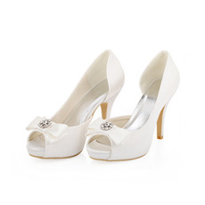 Γυναικεία ψηλά τακούνια σατέν μεταξωτά γαμήλια παπούτσια στιλέτο παπούτσια για γυναίκες
