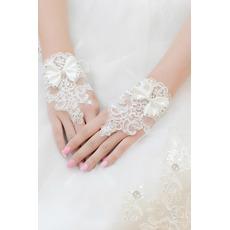 Σύντομη Καλοκαίρι Ιβουάρ Δαντέλα Διακόσμηση Γάντια γάμου