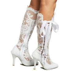 Κούφια μπότες σέξι δαντέλα ψηλές μπότες πάνω από το γόνατο στιλέτο με τακούνι
