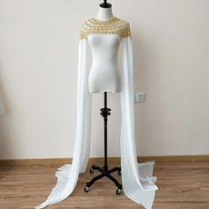 Νυφικό σιφόν μανδύα μακρύ μανίκι φόρεμα μανδύα