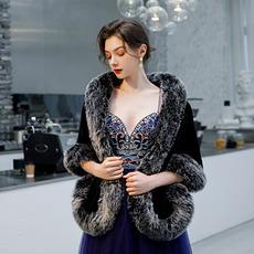 Χειμώνας νυφικό σάλι απομίμηση γούνα ζεστό σάλι νυφικό παλτό