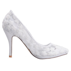 Άνοιξη δαντέλα ρηχό στόμα επισήμανε ενιαία παπούτσια κεντημένα λουλούδια ψηλά τακούνια λευκό παπούτσια γάμου