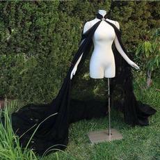 Μαύρο σιφόν Στάδιο Απόδοση Ακρωτήριο Νυφικό Γάμος Νυφικό παλτό