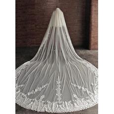 4M υψηλής ποιότητας πέπλο γάμου πέπλο 2 στρώμα καθεδρικό ναό νυφικό άσπρο δαντέλες άκρη
