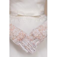 Λευκό Δαντέλα Δαντέλα Σύντομη Πλήρη δάχτυλο Γάντια γάμου