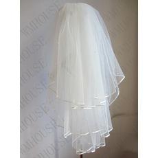 Νυφικό πέπλο 3-στρώμα χνουδωτό γαμήλιο μαργαριτάρι πέπλο γάμου κοντό πέπλο