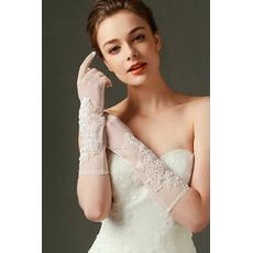 Ιβουάρ Σέξι Πλήρη δάχτυλο Ημιδιαφανές Χάντρες Γάντια γάμου