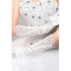 Σέξι Αίθουσα Μακρύ Σατέν Κόκκινο Διακοσμητικά Επιράμματα Γάντια γάμου
