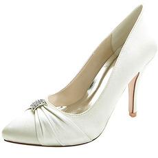Γυναικεία μυτερά παπούτσια γάμου με ψηλοτάκουνα σατέν παπούτσια