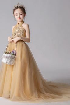 Λουλούδι κορίτσι φορέματα Γραμμή Α Επίσημη Αμάνικο καπίστρι Καλοκαίρι Μακρύ