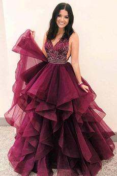Μπάλα φορέματα Μακρύ Τούλι Διαδοχικά Βολάν Αμάνικο Φυσικό Φερμουάρ επάνω