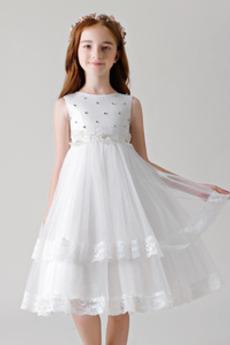 Δαντέλα πολλαπλών στρώμα κλιμακωτή Φθινόπωρο Λουλούδι κορίτσι φορέματα