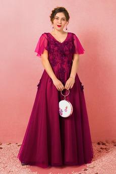 Γραμμή Α Δαντέλα επικάλυψης Κλεψύδρα Χαλαρά μανίκια Μπάλα φορέματα