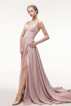 Αμάνικο Ελαστικό σατέν Μπροστινό σχισμή Βαθιά v-λαιμός Μπάλα φορέματα