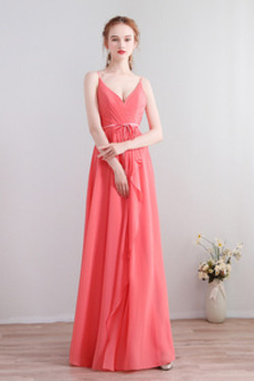 Πολυτελές Ντραπέ Γραμμή Α Σιφόν Λαιμόκοψη V Παράνυμφος φορέματα