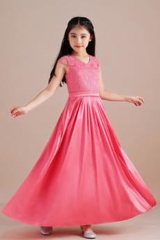 Προσαρμοσμένες μανίκια Μέχρι τον αστράγαλο Λουλούδι κορίτσι φορέματα