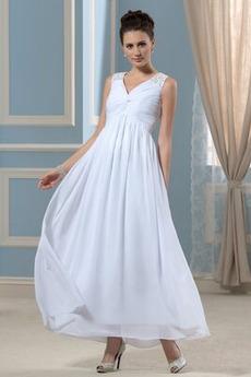 Βραδινά φορέματα Αυτοκρατορία Αμάνικο Σιφόν Λαιμόκοψη V Το μήκος τσάι