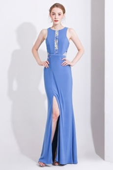 Επίσημη Δαντέλα Μπροστινό σχισμή Θήκη Φυσικό Βραδινά φορέματα