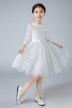Κόσμημα 4 Μήκος Μανικιού Γραμμή Α Μέχρι το Γόνατο Λουλούδι κορίτσι φορέματα