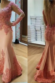 Βραδινά φορέματα Μακρύ Διακοσμητικά Επιράμματα Ψευδαίσθηση Μακρύ Μανίκι
