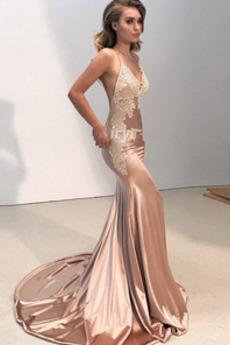 Βραδινά φορέματα Γοργόνα Καλοκαίρι Χάνει Λαιμόκοψη V Αμάνικο Σέξι