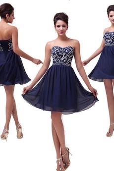 Δαντέλα-επάνω Αμάνικο Ρομαντικό Φυσικό Σιφόν Κοκτέιλ φορέματα