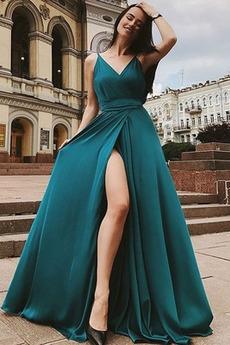 Μπροστινό Σκίσιμο Γραμμή Α Χάνει Αμάνικο Βραδινά φορέματα