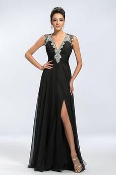 Μπροστινό σχισμή Ανάποδο Τρίγωνο Κομψό Αμάνικο Βραδινά φορέματα