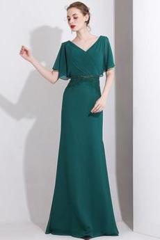 Λαιμόκοψη V Πλισέ Κοντομάνικο Σιφόν Φυσικό Βραδινά φορέματα