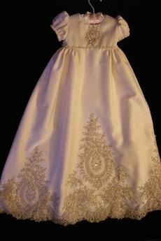 Επίσημη Κόσμημα Δαντέλα Μικρό πουφ μανίκια Φόρεμα Βάπτισης