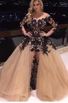 Μπάλα φορέματα Μακρύ Φερμουάρ επάνω Ψευδαίσθηση Κομψό & Πολυτελές