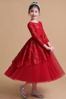 Κόσμημα Επίσημη Φθινόπωρο Μήκος πατωμάτων Λουλούδι κορίτσι φορέματα